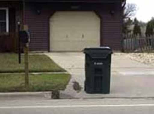 correct placement of garbage can in driveway