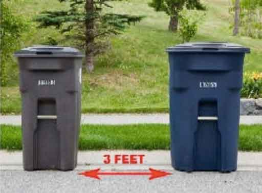 front view showing correct distance to place garbage cans - 3 feet apart
