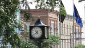 clock and buildings downtown elyria ohio