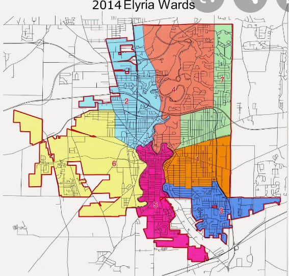 elyria ward map