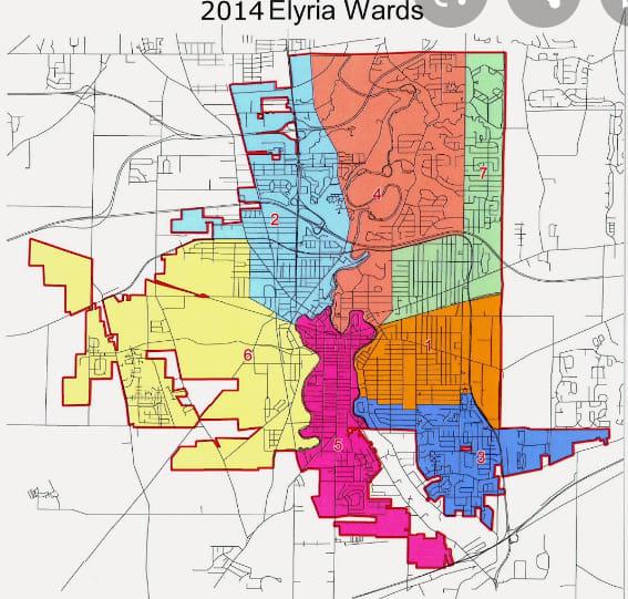 elyria ward map
