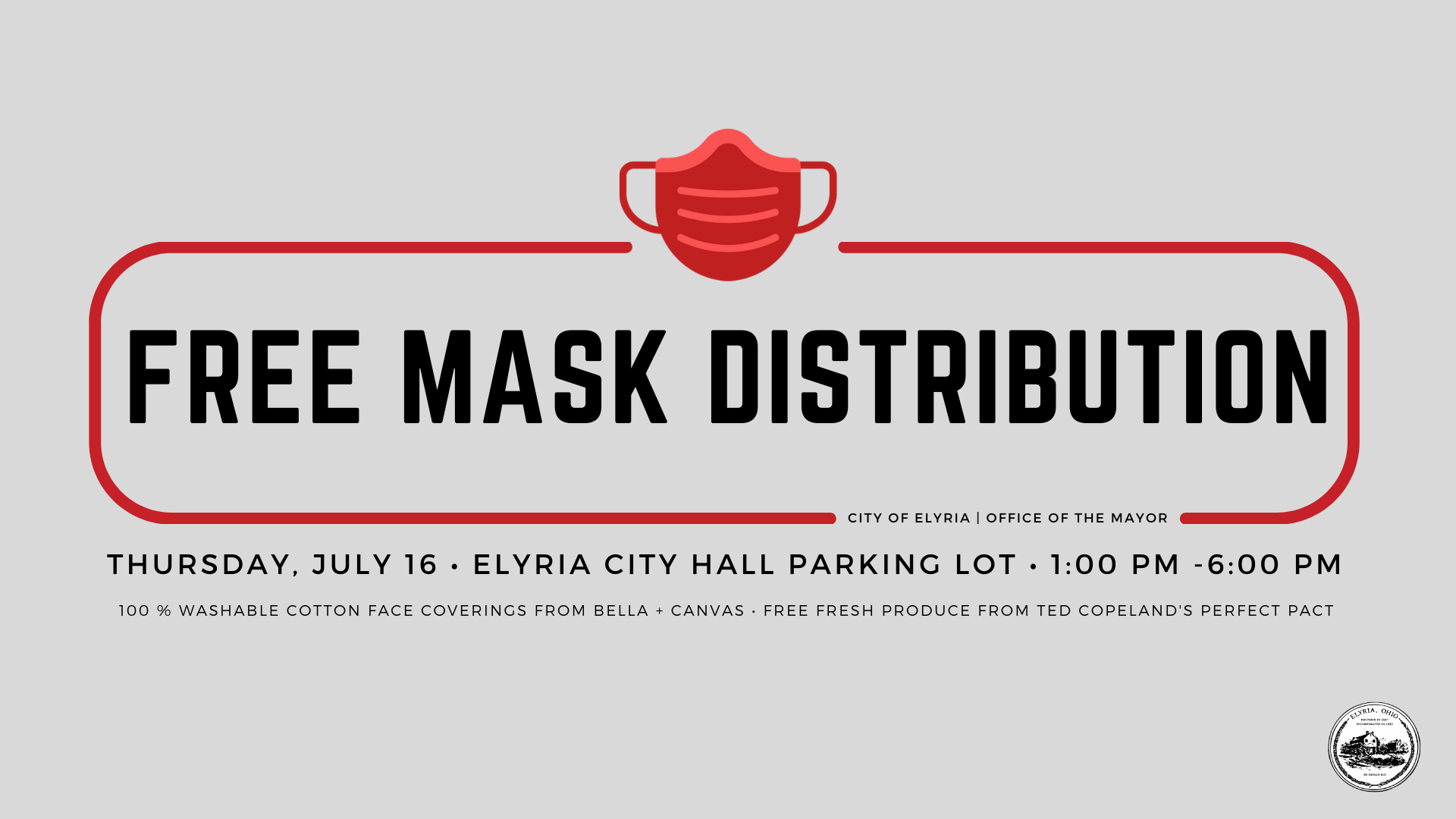 Event Flyer for Free Mask Distribution from the Office of the Mayor